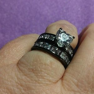 Sz 5 Wedding set white cz heart black rhodium